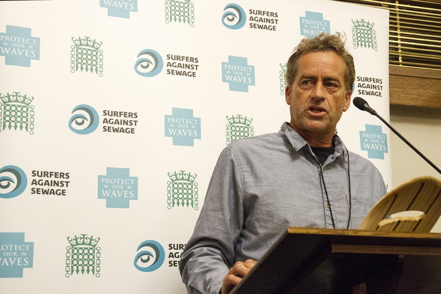 Tom Curren talks at Houses of Parliament during the Global Wave Conference