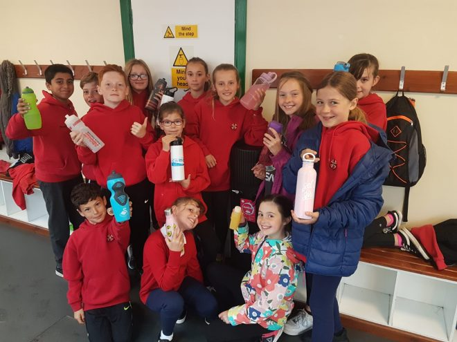 Crwys Primary School With Their Reusable Bottles