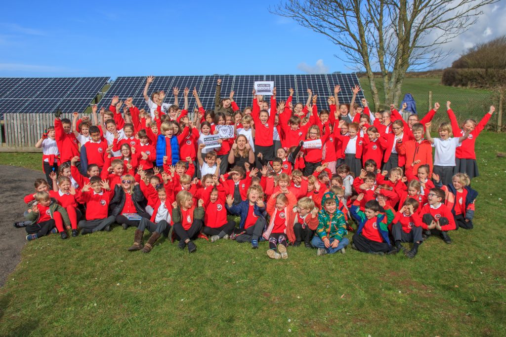 Georgeham school students celebrate achieving Plastic Free Schools status in the sun!