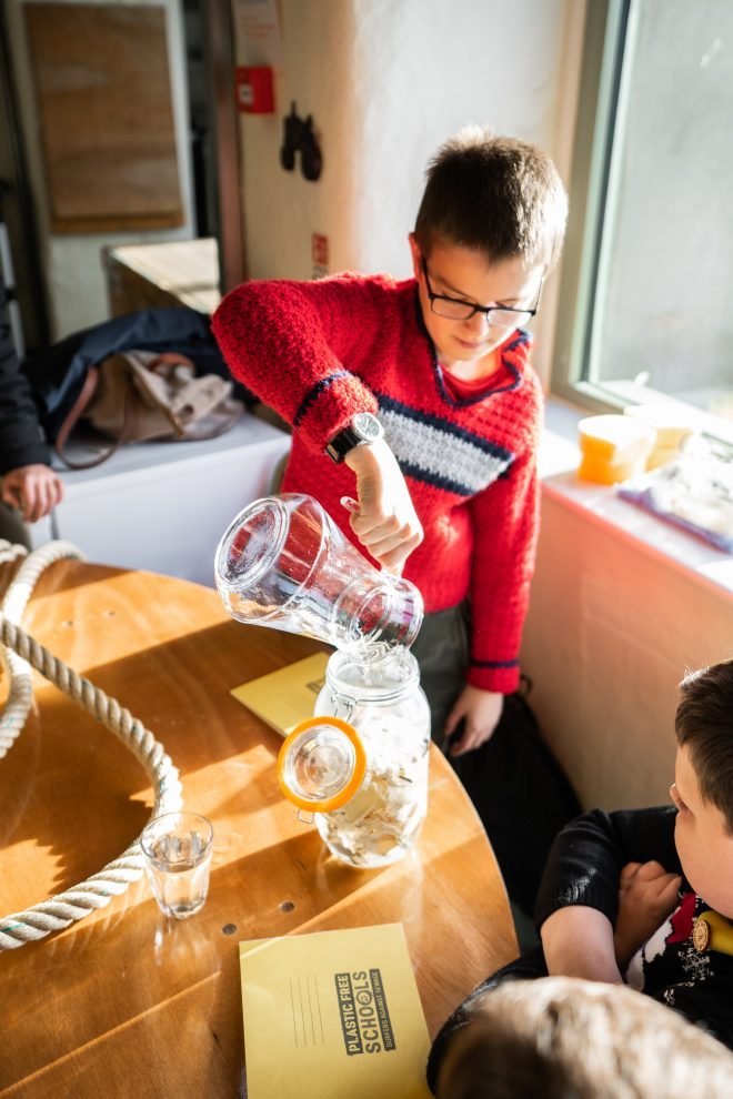 In 'The Science of Plastic' lesson, pupils conduct an experiment using plastic and water. Photo by Jack Abbott.