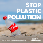 SAS Stop Plastic Pollution Message Coke Bottle On Beach