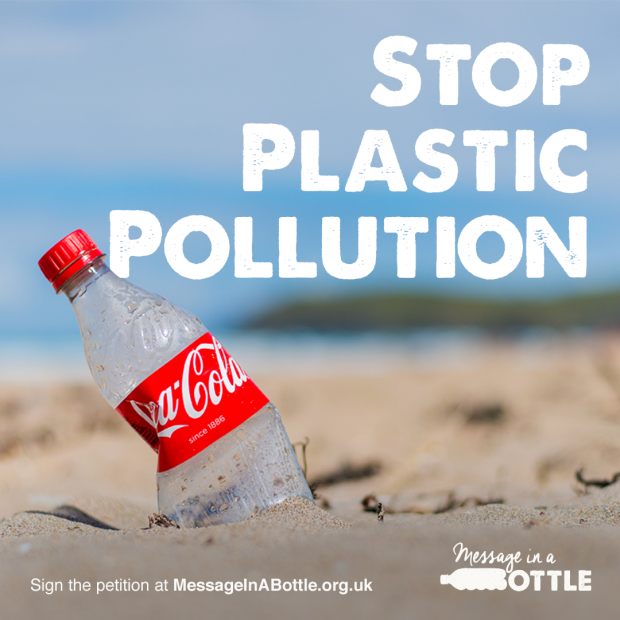 SAS Stop Plastic Pollution Message Coke Bottle On Beach DRS Consultation Response