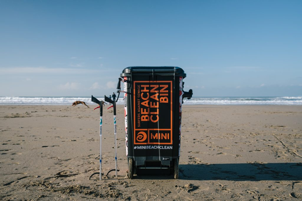 Mini Beach Clean Bin on beach