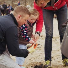 SAS West Wales Rep Alice Beese at a beach clean