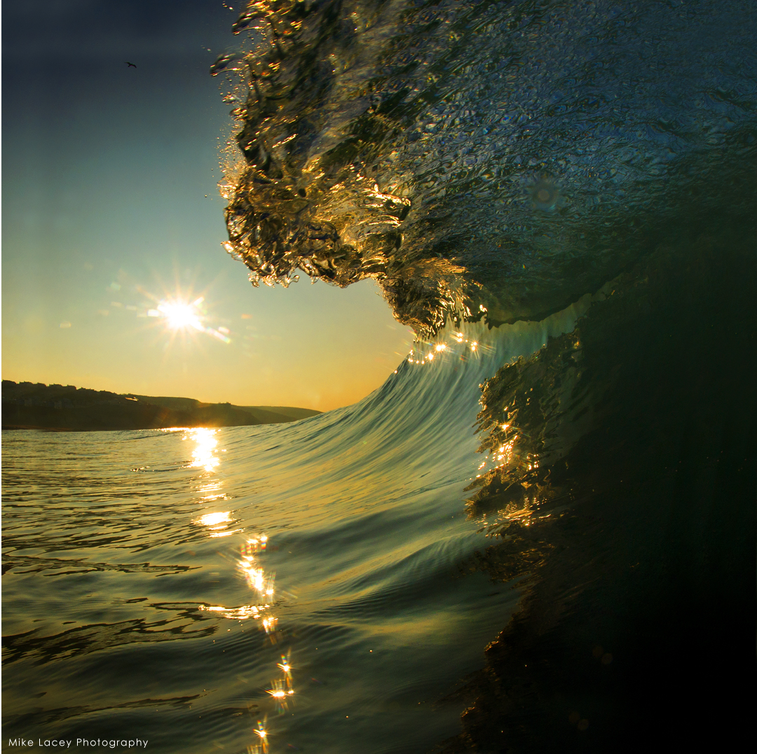 Bathing Water quality Clean barreling wave in low sunlight