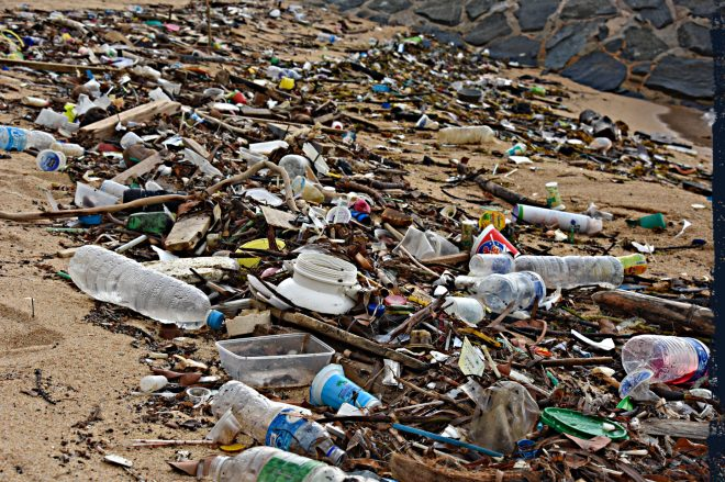 A beach littered, amongst other things, with dozens of waste plastic bottles