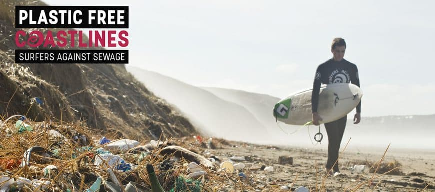 Surfers Against Sewage - Plastic pollution on Perranporth beach, Cornwall