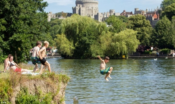 Children jumping into a river
