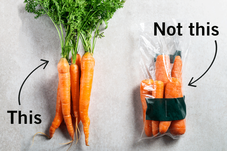 carrots without plastic, versus ones in plastic