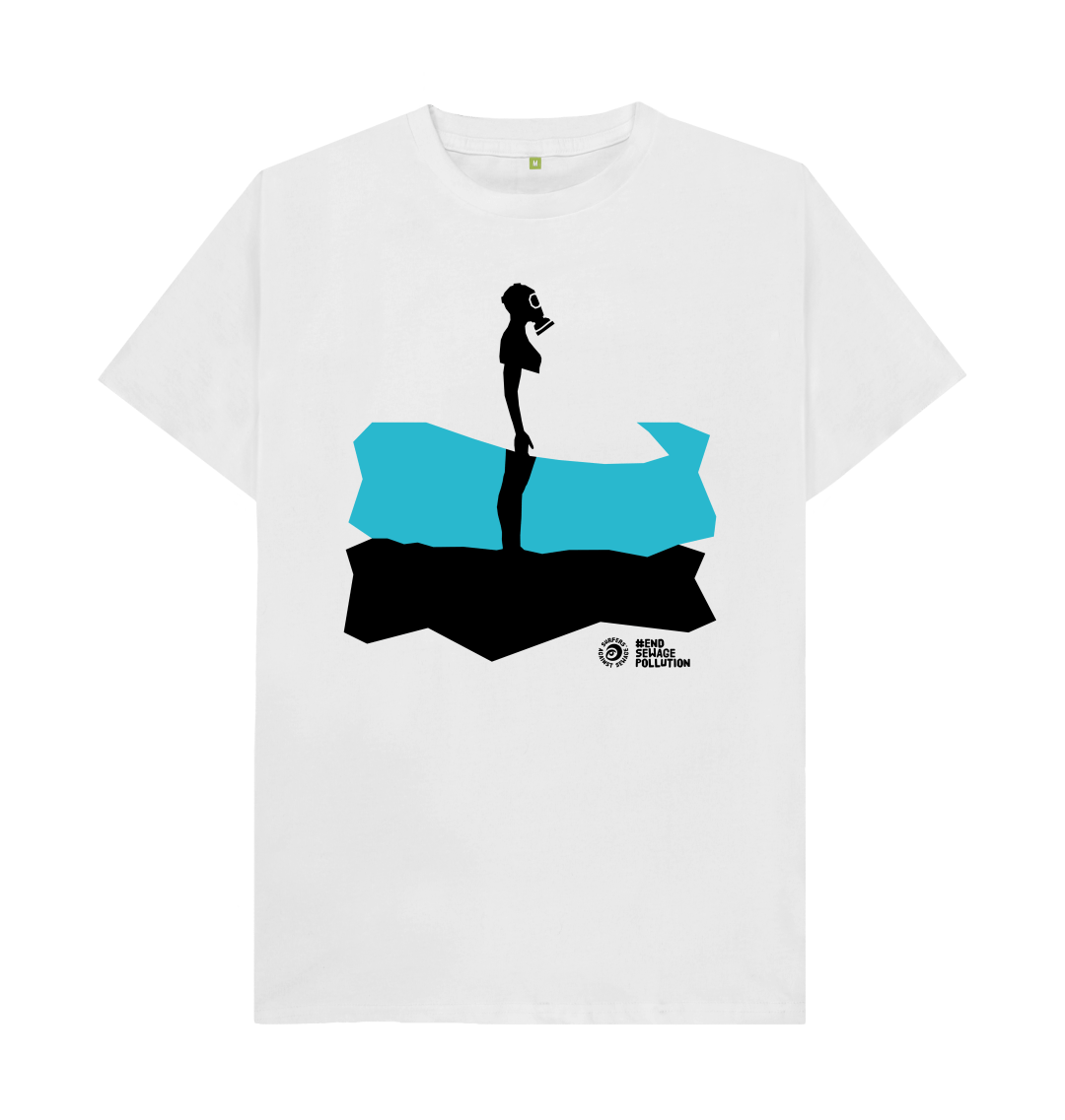 T shirt showing surfing in a gas mask
